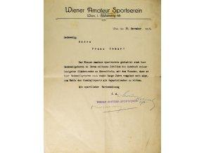 Dokument, Wiener Amateur Sportberein, Wien, 1920