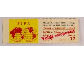 Vstupenka, Fifa, ČSSR v. Evropa, 1981
