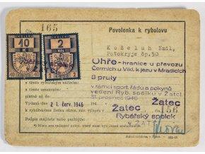 Tiskovina, Povolenka k rybolovu, Ohře, 1946 (1)