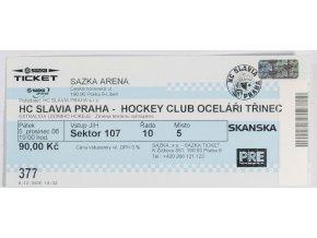 Vstupenka, HC Slavia Praha v. HC Třinec, 2006
