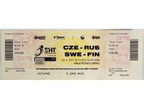 Vstupenka hokej, CZE RUS, SWE FIN, Brno, 2011 (1)