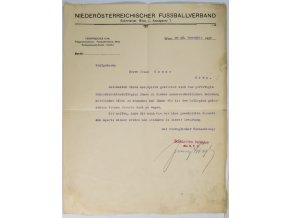 Dokument, Niederosterreichisecher Fussballverband, 1920