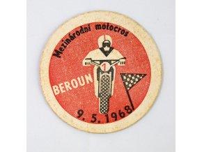 Pivní tácek Mezinárodní motocros Beroun, 9.V. 1968