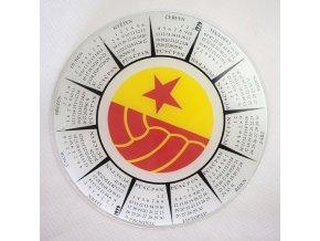 Skleněný kalendář SLAVIA PRAHA - fotbal, 1979