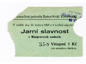 Vstupenka Jarní slavnost Sokol Král. VinohradyDSC 7513