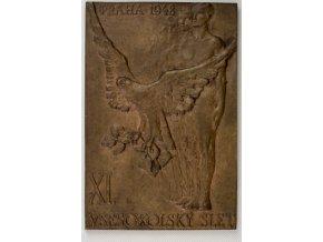 Bronzový relief, XL.Všesokolský slet, Praha 1948DSC 7819