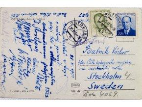 Pohlednice Hokejisté, pozdrav z Ostravy,do Stockholmu, 1954Pohlednice Hokejisté, pozdrav z Ostravy,do Stockholmu, 1954 (2)