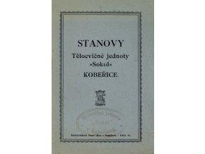 Stanovy Tělocvičné jednoty Sokol Koběřice, 1923Stanovy Tělocvičné jednoty Sokol Koběřice, 1923