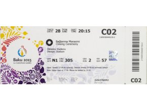 VVstupenka European Games, Baku, Closing Ceremony, 2015DSC 8125
