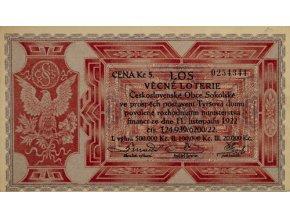 Los Věcná loterie XI. Československé Obce Sokolské, 1922Los Věcná loterie XI. Československé Obce Sokolské, 1922