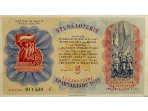 Los Věcná loterie Československé spartakiády, C, 1955Los Věcná loterie Československé spartakiády, C, 1955
