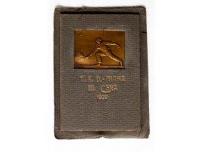 Plaketa tenis, bronz, T.K.D. Praha, 1929Plaketa tenis, bronz, T.K.D. Praha, 1929