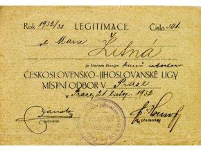 Legitimace Československé jihoslovanské ligy, 1932Legitimace Československé jihoslovanské ligy, 1932