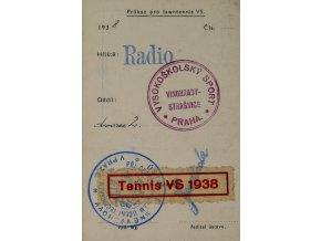 Průkaz, Vysokoškolský sport, Tennis, 1938Průkaz, Vysokoškolský sport, Tennis, 1938 (2)