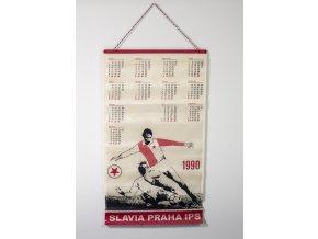 Textilní kalendář Slavia Praha IPS, 1990Textilní kalendář Slavia Praha IPS, 1990