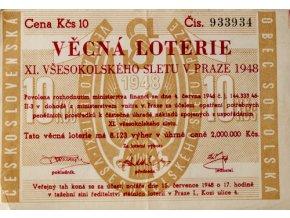 Věcná loterie XI. Všesokolského sletu v Praze, 1948 IIIVěcná loterie XI. Všesokolského sletu v Praze, 1948 III