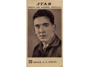 Kartička z časopisu STAR, 30, Braine, A.C.Sparta PrahaKartička z časopisu STAR, 30, Braine, A.C.Sparta Praha