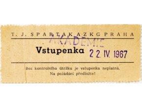 Vstupenka SPARTAK AZKG Praha, Akademie 22.IV.1967Vstupenka SPARTAK AZKG Praha, Akademie 22.IV.1967