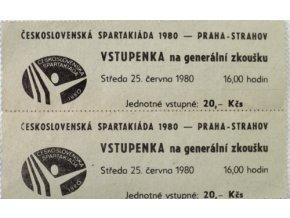 Vstupenka Spartakiáda 1980, generální zkouška, 2 ks Neutržená. Praha Strahov, 25.VI.1980Vstupenka Spartakiáda 1980, generální zkouška, 2 ks Neutržená. Praha Strahov, 25.VI.1980