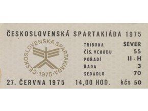 Vstupenka Spartakiáda 1975, 27.VI.Vstupenka Spartakiáda 1975, 27.VI.
