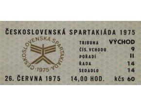 Vstupenka Spartakiáda 1975, 28.VI.Vstupenka Spartakiáda 1975, 28.VI.