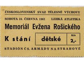 Vstupenka lehká atletika, memoriál Evžena Rošického , 1961, 2Vstupenka lehká atletika, memoriál Evžena Rošického , 1961, 2