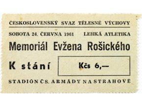 Vstupenka lehká atletika, memoriál Evžena Rošického , 1961, 6Vstupenka lehká atletika, memoriál Evžena Rošického , 1961, 6