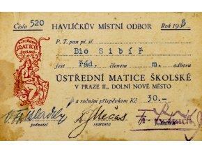 Členská legitimace Ústřední matice školské, 1935Členská legitimace Ústřední matice školské, 1935