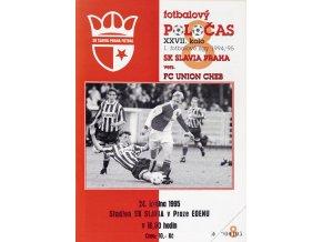 Fotbalový POLOČAS SK SLAVIA PRAHA vs FC Union Cheb, 1995Fotbalový POLOČAS SK SLAVIA PRAHA vs FC Union Cheb, 1995