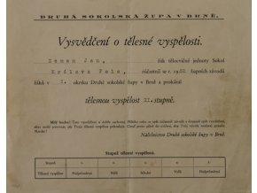 Vysvědčení o tělesné vyspělosti, Sokol 1932Vysvědčení o tělesné vyspělosti, Sokol 1932