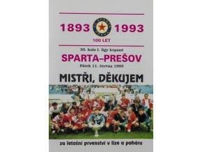 Program Sparta vs. Prešov, 1993Program Sparta vs. Prešov, 1993