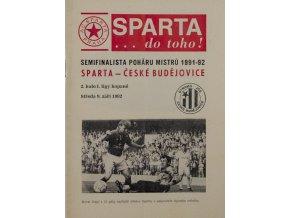 Program Sparta vs. Budějovice, 1992Program Sparta vs. Budějovice, 1992