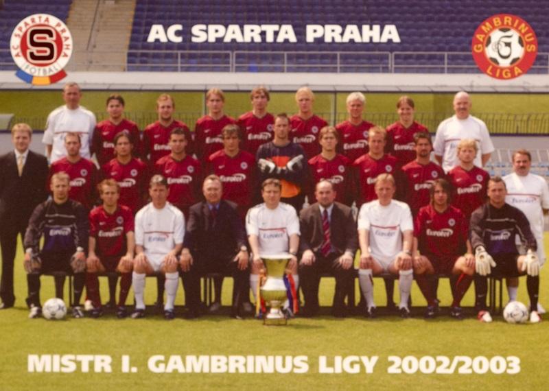 Kartička AC SPARTA PRAHA mistr ligy 2002/2003