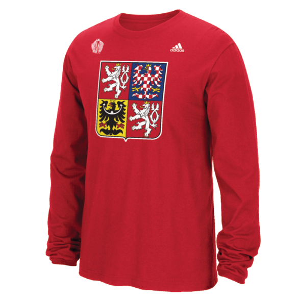 Team Czech Republic 2016 World Cup of Hockey Primary Logo Long Sleeved T-Shirt - Mens Barva: červená, Velikost: S