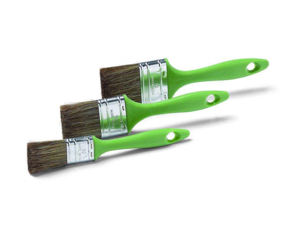 3 dielna sada lazúr. plochých štetcov, mix hnedý PES / štetina, pozink. spojka, veľ. 30, 50, 60 mm