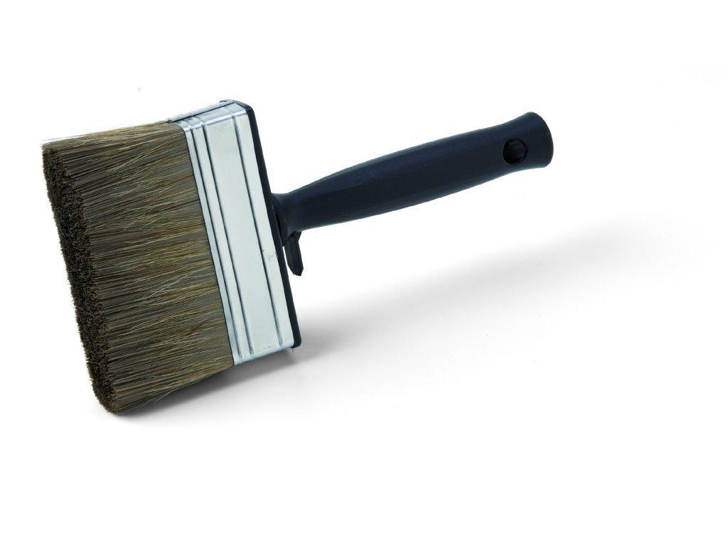 Štetka na ochranné nátery dreva, mix čínska štetina / PES, kovová spojka, plastová rukoväť, veľ. 120 mm