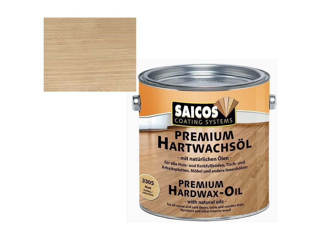 Saicos tvrdý voskový olej Premium Striebornosivou TRANSPARENTNÉ 3317; 0,75 l