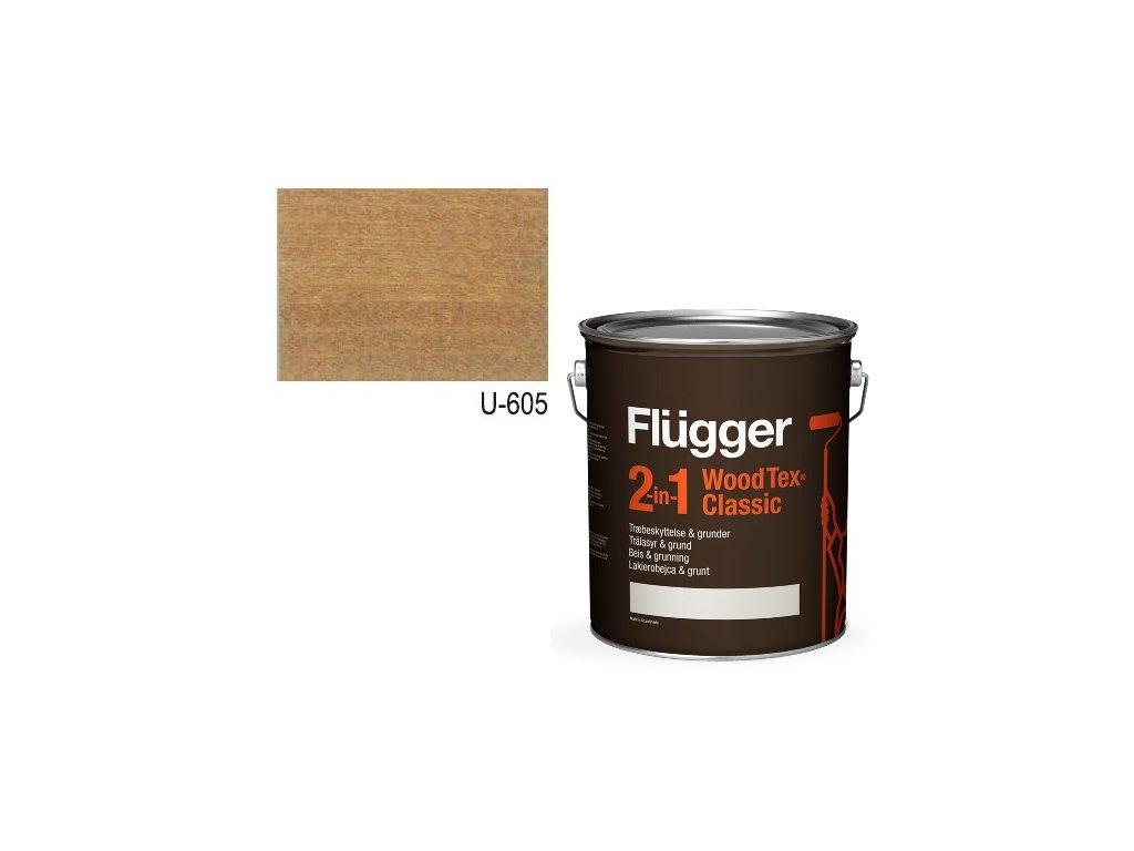 Flügger Wood Tex - Classic 2v1 (predtým Flügger 2v1 Classic) - lazúrovacia lak- 0,7l odtieň U-605