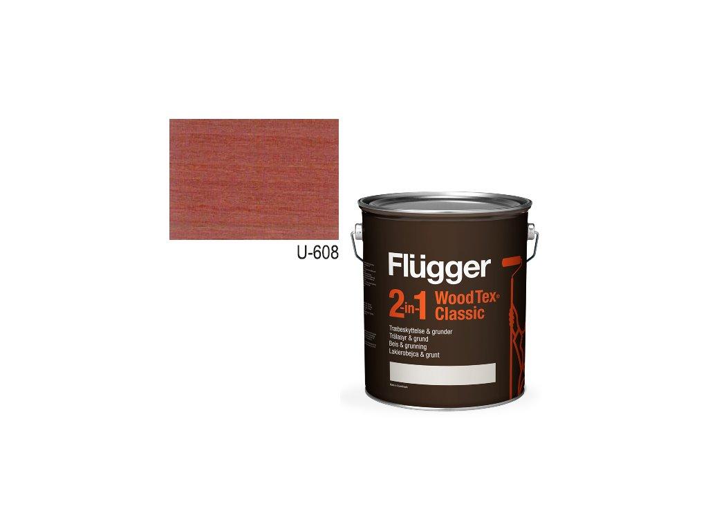 Flügger Wood Tex - Classic 2v1 (predtým Flügger 2v1 Classic) - lazúrovacia lak- 0,7l odtieň U-608