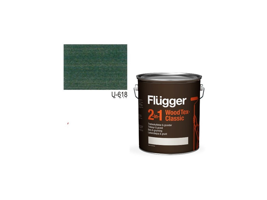 Flügger Wood Tex - Classic 2v1 (predtým Flügger 2v1 Classic) - lazúrovacia lak- 0,7l odtieň U-618