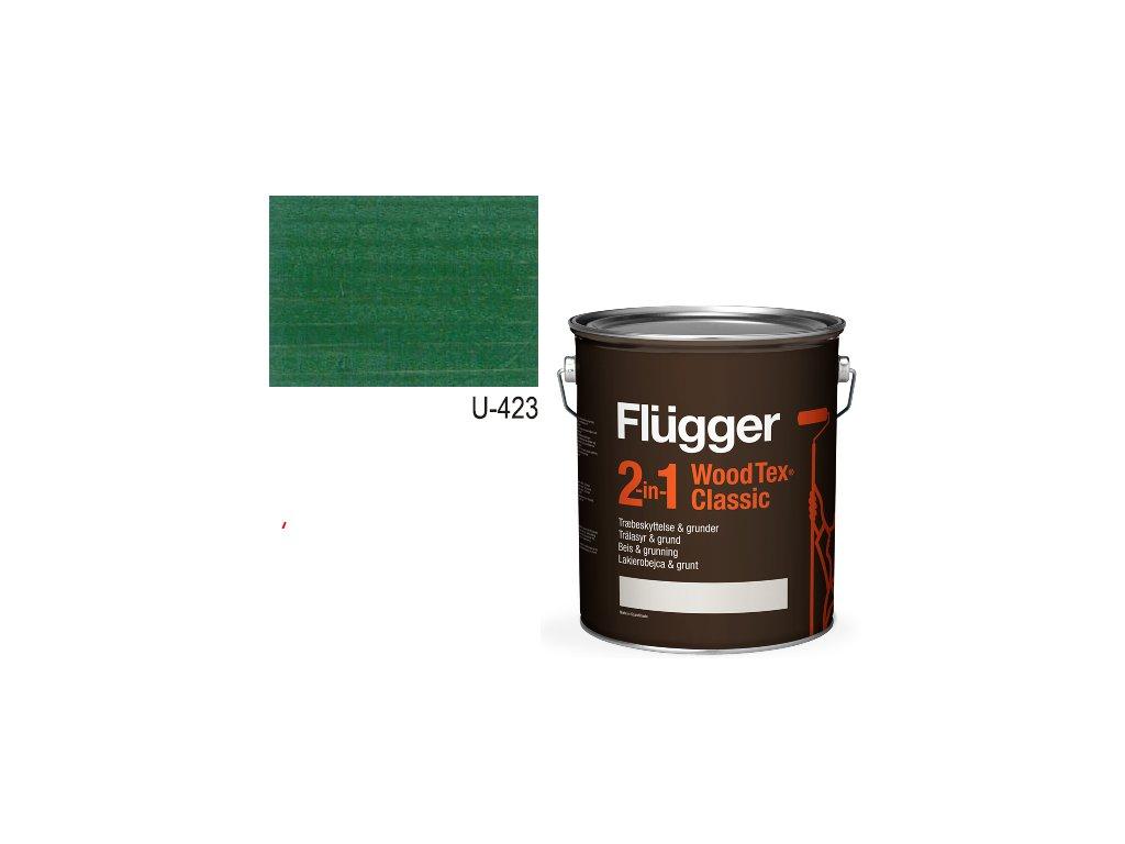 Flügger Wood Tex - Classic 2v1 (predtým Flügger 2v1 Classic) - lazúrovacia lak- 2,8l odtieň U-423 Zeleň