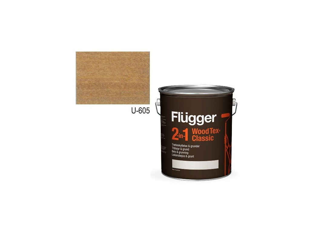 Flügger Wood Tex - Classic 2v1 (predtým Flügger 2v1 Classic) - lazúrovacia lak- 2,8l odtieň U-605