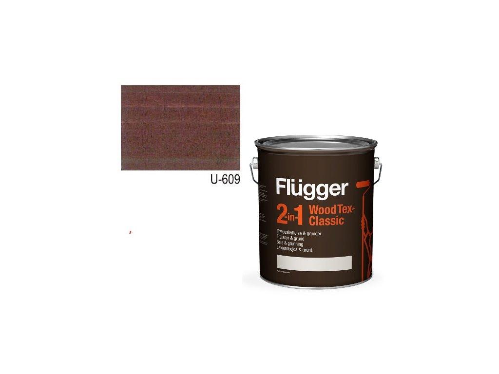 Flügger Wood Tex - Classic 2v1 (predtým Flügger 2v1 Classic) - lazúrovacia lak- 2,8l odtieň U-609