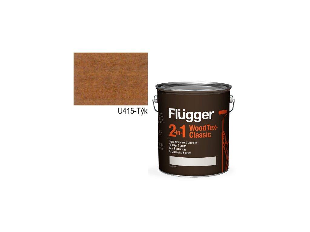 Flügger Wood Tex - Classic 2v1 (predtým Flügger 2v1 Classic) - lazúrovacia lak- 2,8l odtieň U-415 Tík
