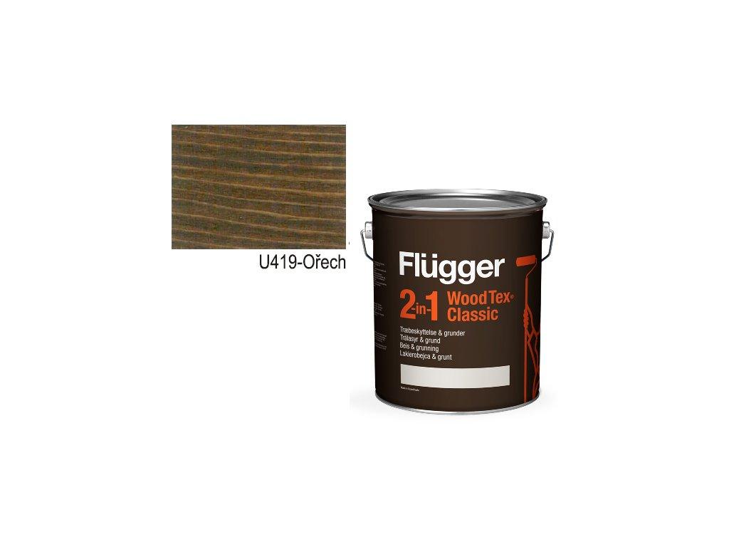Flügger Wood Tex - Classic 2v1 (predtým Flügger 2v1 Classic) - lazúrovacia lak- 4,9l odtieň U-419 Orech  + darček v hodnote až 7,5 EUR
