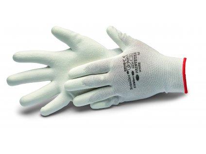 Rukavice NYLON BIELE, plocha dlane potiahnutá polyuretánom, veľ. 10 / XL