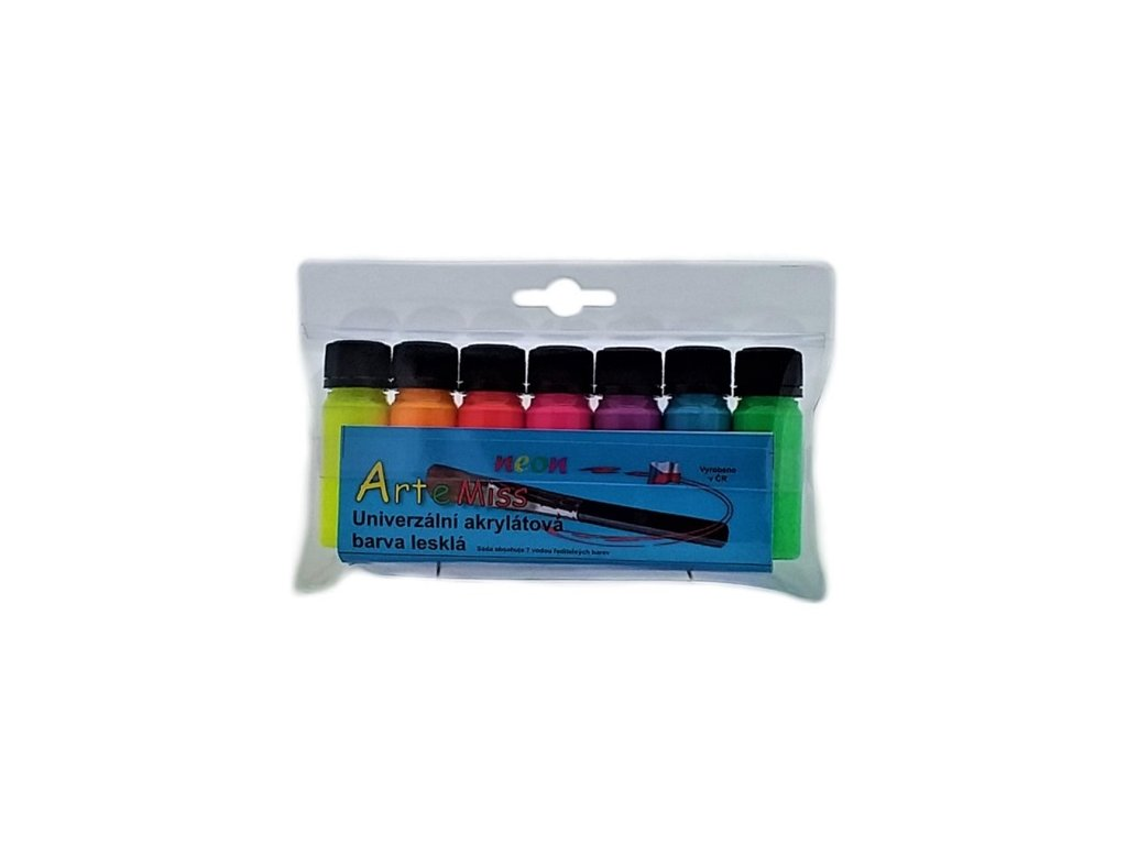 Sada univerzálnych akrylátových farieb neón