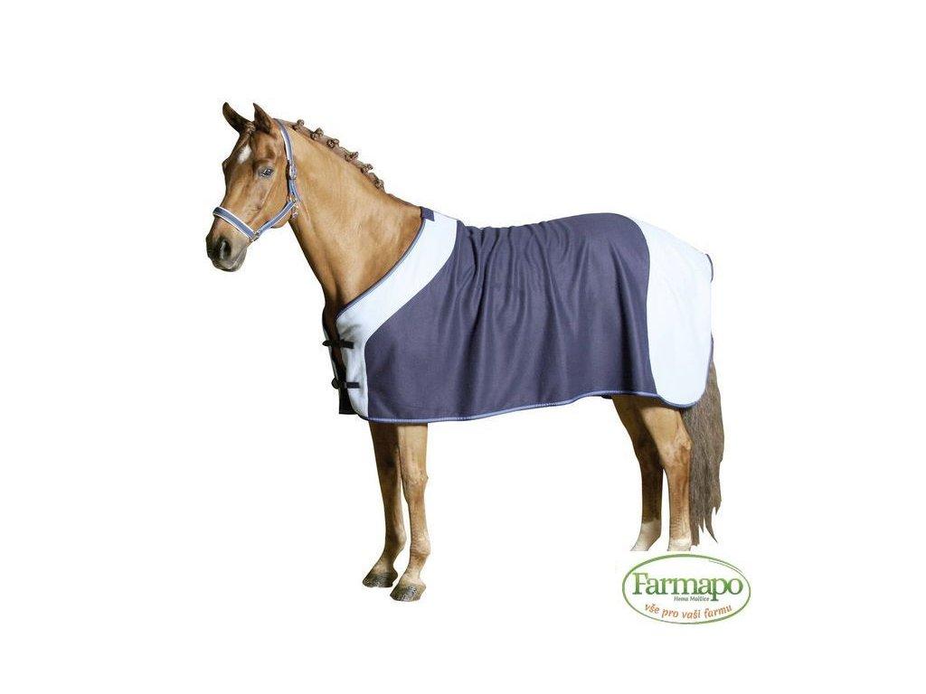 Deka odpocovací a transportní fleece pro koně, nám. modrá/světle modrá