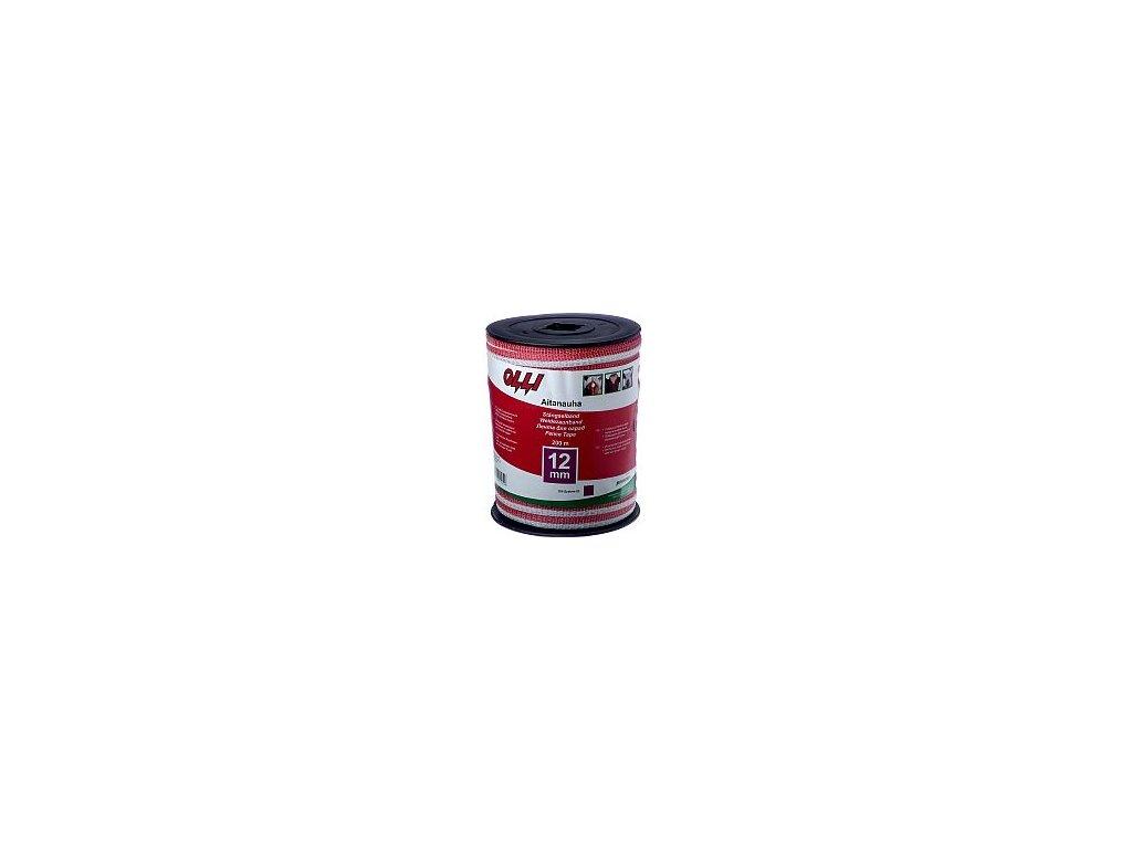 Červeno-bílá ohradníková páska 12 mm