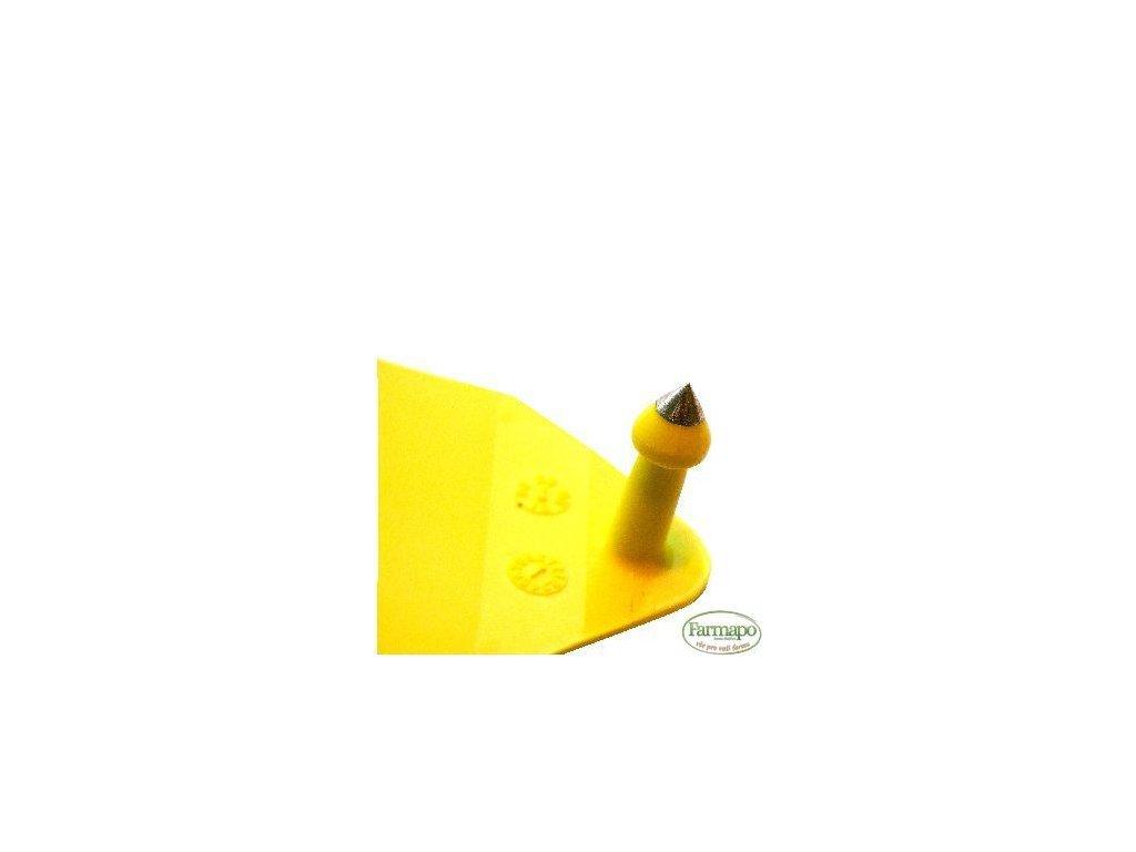 L - plastová ušní známka pro prasnice. Čistá, bez popisu